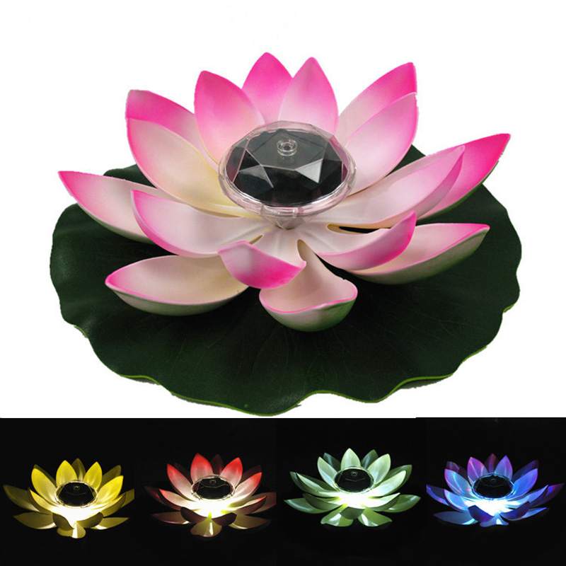 Solar Powered LED Lotus Flower Lamp Water Resistant Outdoor Floating Pond Night-Light for Garden Pool party Garden Decoration