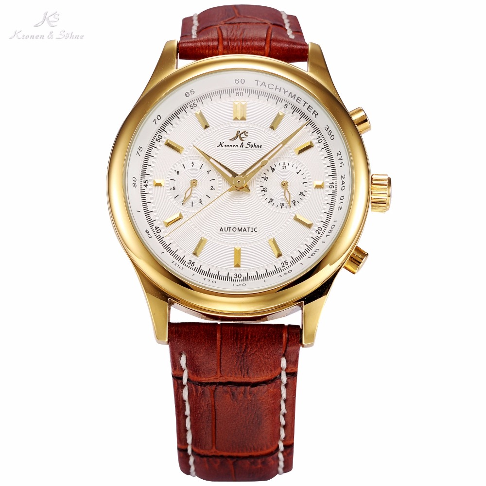 KS Imperial Series Auto Date Display Male Clock Leather Strap White Gold Wristwatch Automatic Mechanical Men Casual Watch /KS182 guanqin men auto mechanical watch water resistance luminous pointer date 24 hour display transparent back cover wristwatch