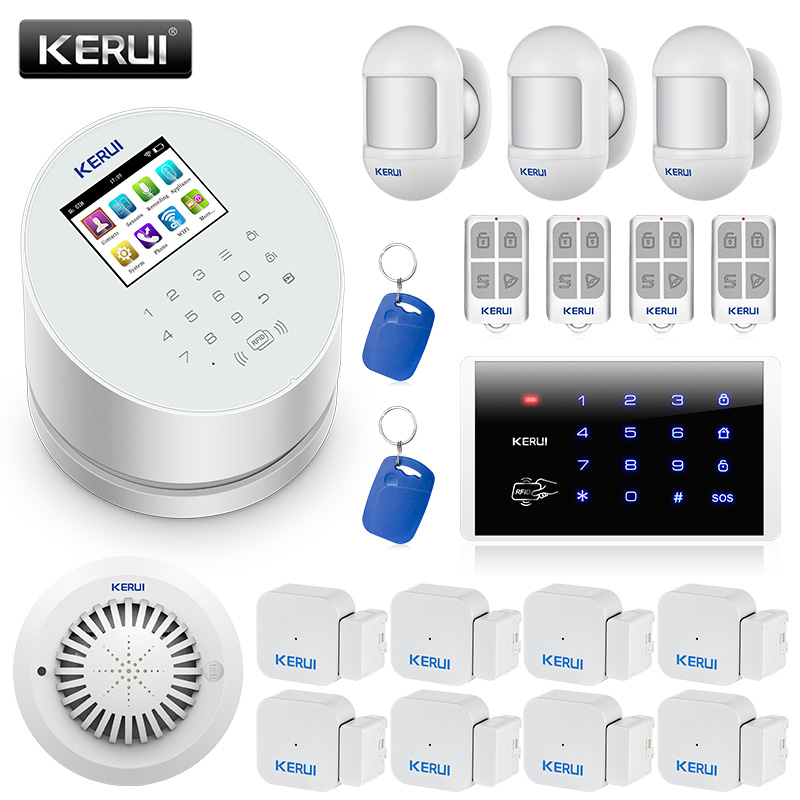 KERUI W2 WI-FI De Alarme GSM PSTN Sistema de Alarme de Segurança Em Casa Sistema de Alarme do Assaltante com RFID Cartão de Movimento Detector de Fumaça e teclado
