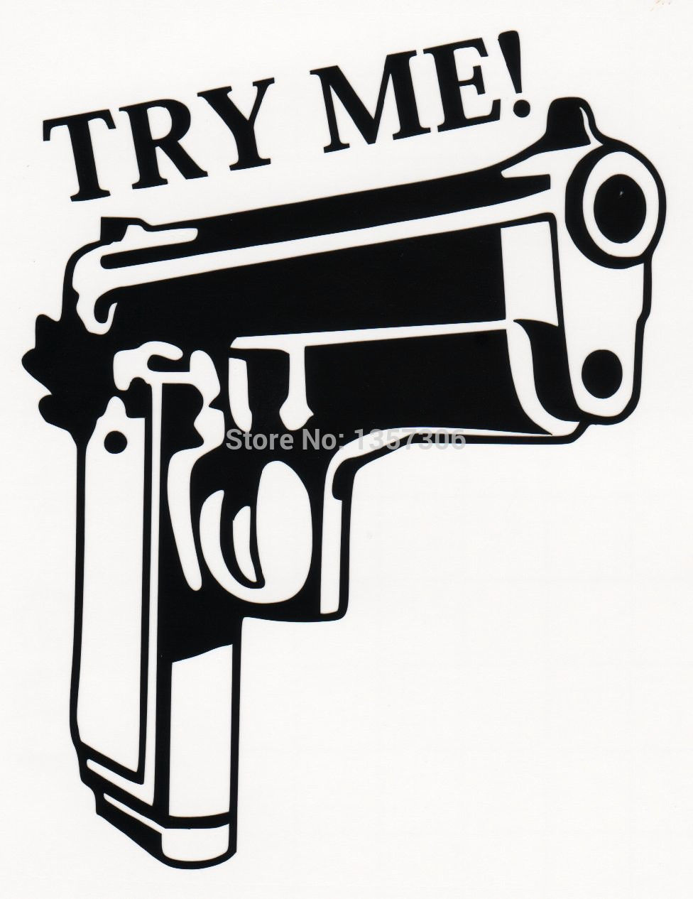 Bumper sticker creator free - Wholesale 40 Pcs Lot Try Me Handgun Guns Vinyl Decal Sticker Car Window Funny Truck