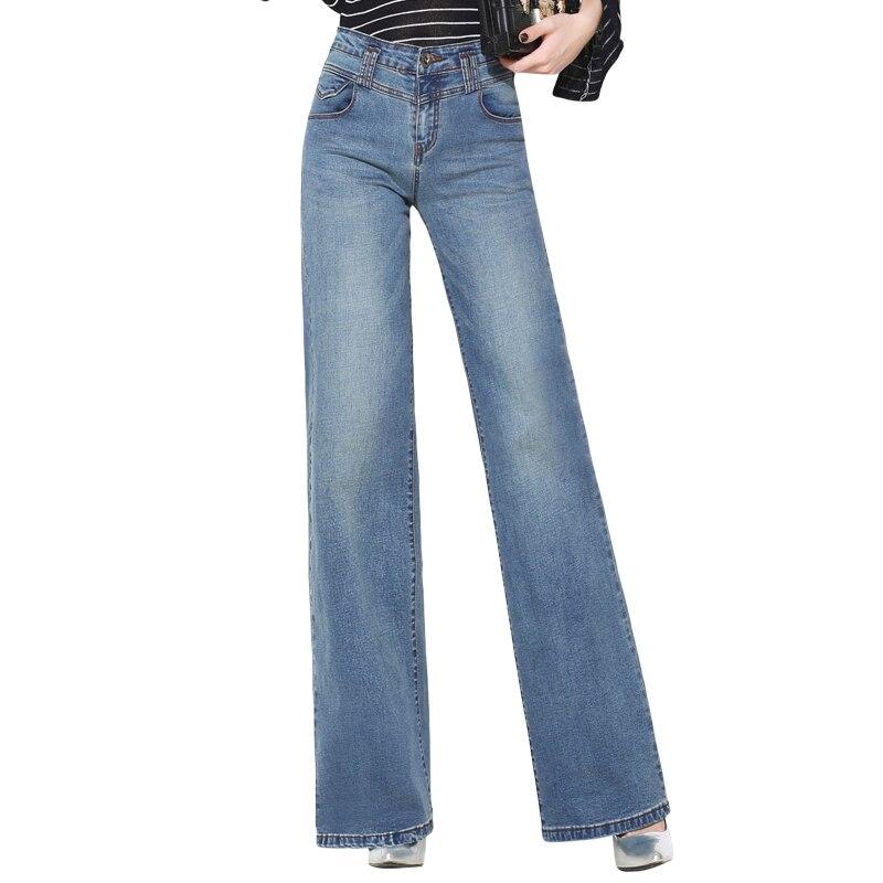 {Guoran} High waist loose <font><b>wide</b></font> <font><b>leg</b></font> <font><b>jeans</b></font> pants for women 2017 new denim <font><b>jeans</b></font> trousers blue plus size 33 32 female casual pants