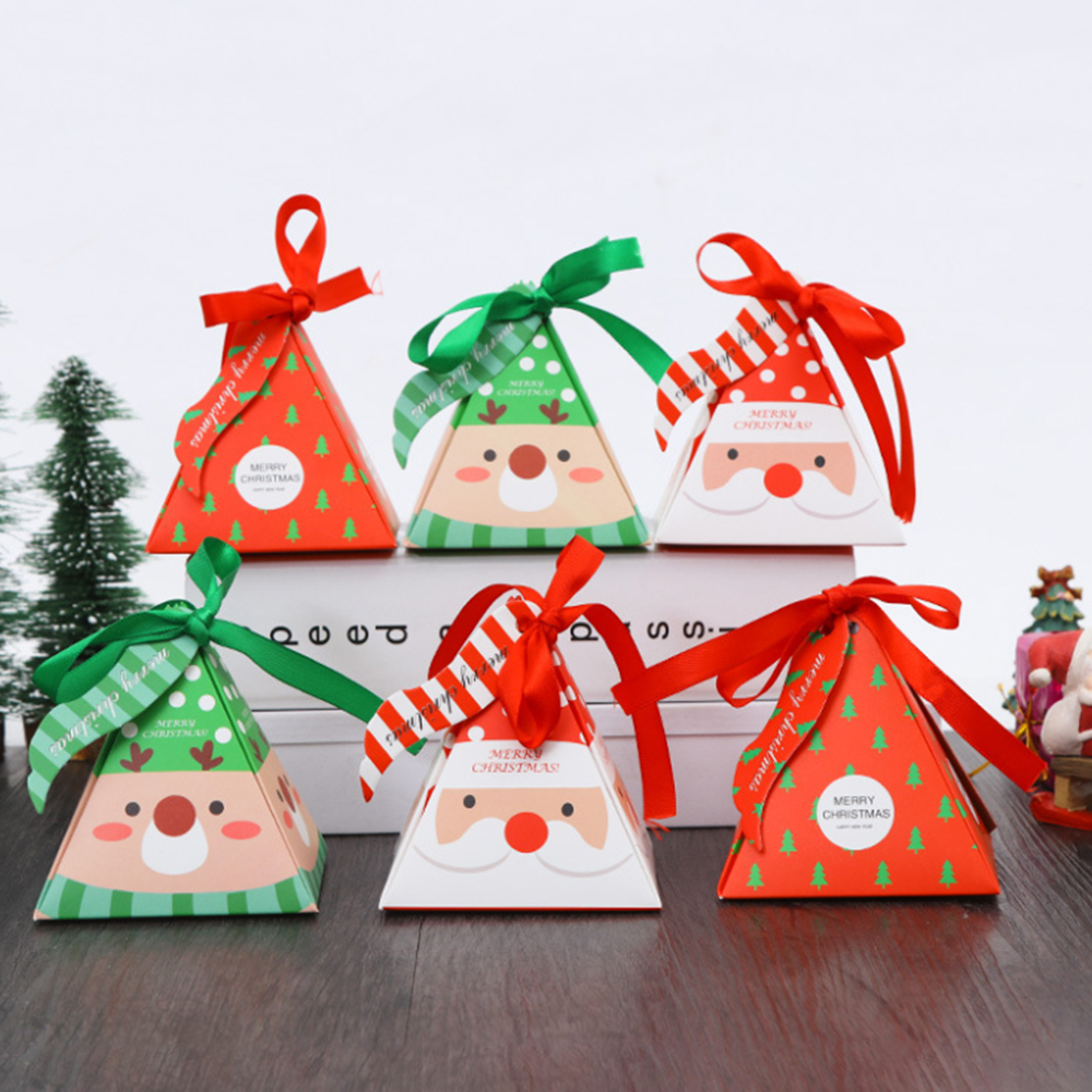 10pcs/set Merry Christmas Candy Box Bag Christmas Tree Gift Box With Bells Paper Box Gift Bag Container Supplies Navidad