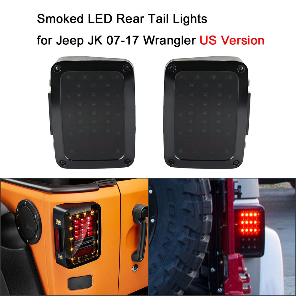 Pair of Smoked LED Rear Tail Lights Brake Reverse Lamps for Jeep JK 07-17 Wrangler US Version Tail lamp Car Light Replacement