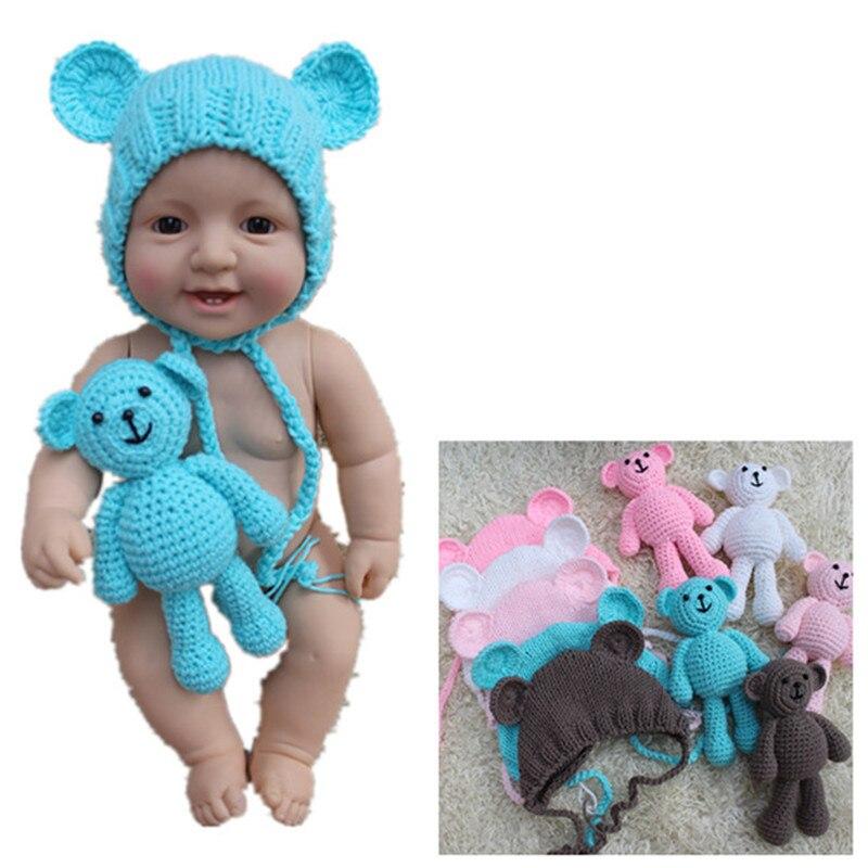 Crochet Baby Hat Bear Handmade Newborn Photography Props Baby Cap Beanie,Infantil Fotografia Accessories
