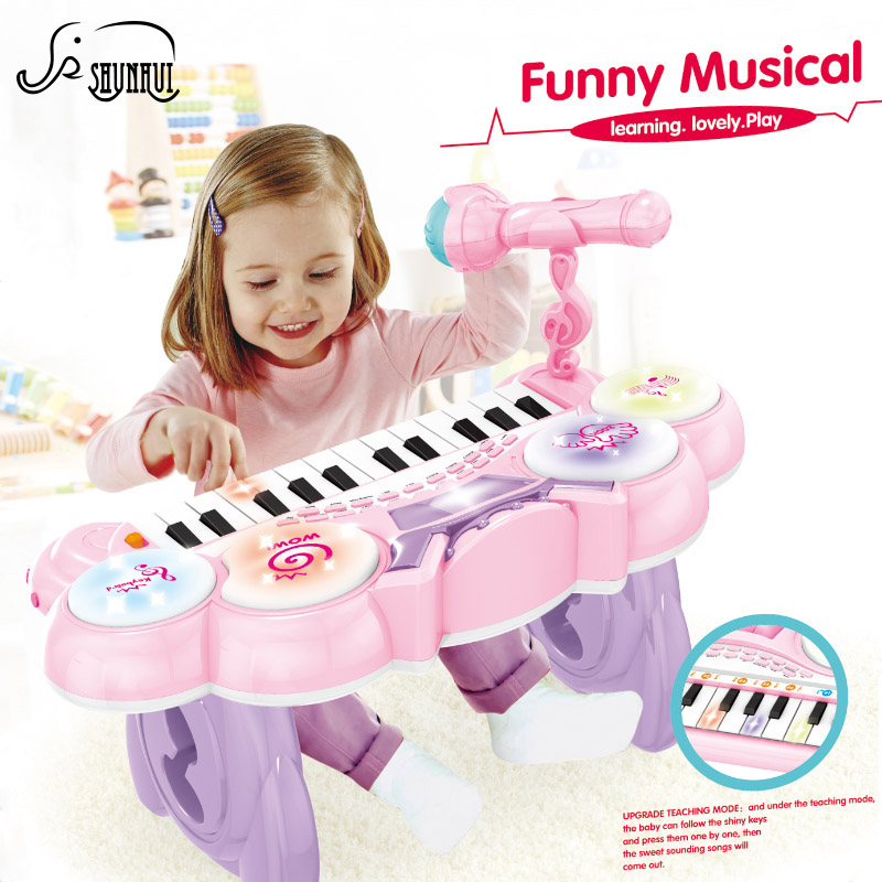 все цены на 24 Key Kids Electronic Keyboard Electone Toy Electronic Piano Organ Musical Instrument Microphone Educational Girl Toys Children