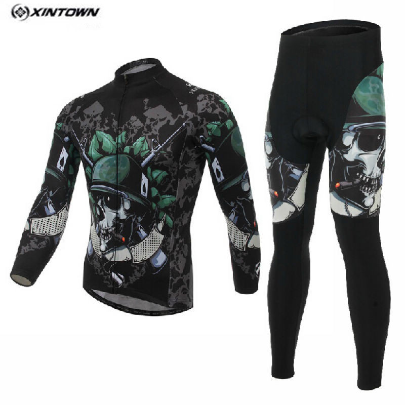 Hot XINTOWN Men MTB Bike jersey Pants Sets Skeleton Soldier Pro Team Cycling clothing Riding Wear Long Sleeve Shirts Coolmax