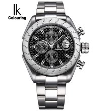 IK Sapphire crystal Automatic Self Wind Watch Scale Multifunction Sub Dial Magnifier Waterproof Fashion Casual Men Sport Watch