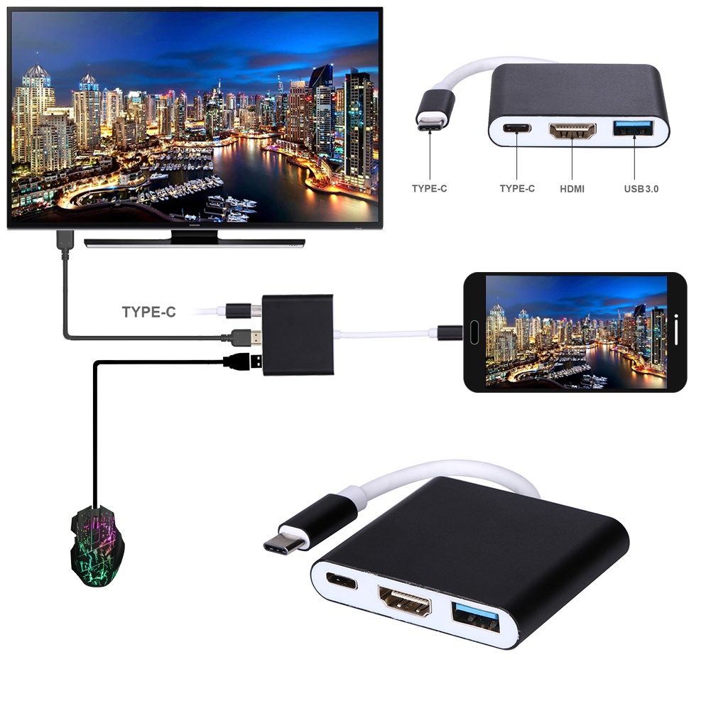 Type-C 3.1 to USB3.0/ HDMI/ Type C Female Charger Adapter 3 in 1 Charging Port Hub for Macbook Black 3in1 usb 3 1 type c hub dp usb c to usb 3 0 hdmi tv projector audio video converter type c female charging adapter for macbook