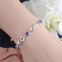 LUKENI Charm 925 Sterling Silver Bracelets Accessories Top Quality Crystal Purple Flower Women Anklets Jewelry Trendy Christmas