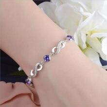 LUKENI Charm 925 Sterling Silver Bracelets Accessories Top Quality Crystal  Purple Flower Women Anklets Jewelry Trendy Christmas d658ebd218a7