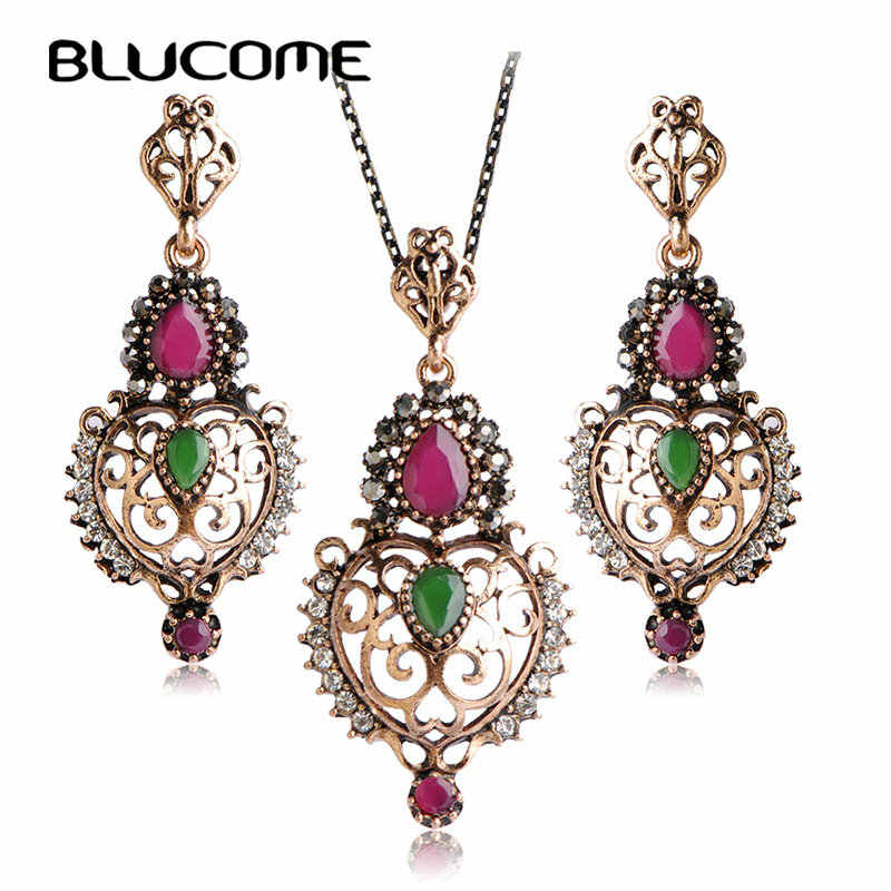 Blucome Women Party Jewelry Sets Turkish Style Resin Long Necklace Earrings Set Red Water Drop Heart Metal Pendant Max Brincos