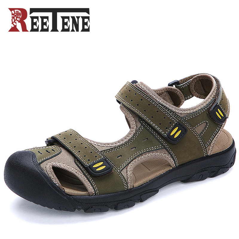 REETENE Summer Men Sandals Genuine Leather Men Slippers 2017 New Summer Shoes Men Outdoor Casual Suede Leather Sandals
