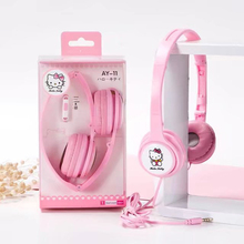 Foldable Cute hello kitty Cartoon earphone headset Kids headphones for iphone samsung xiaomi earphones Computer Mobile