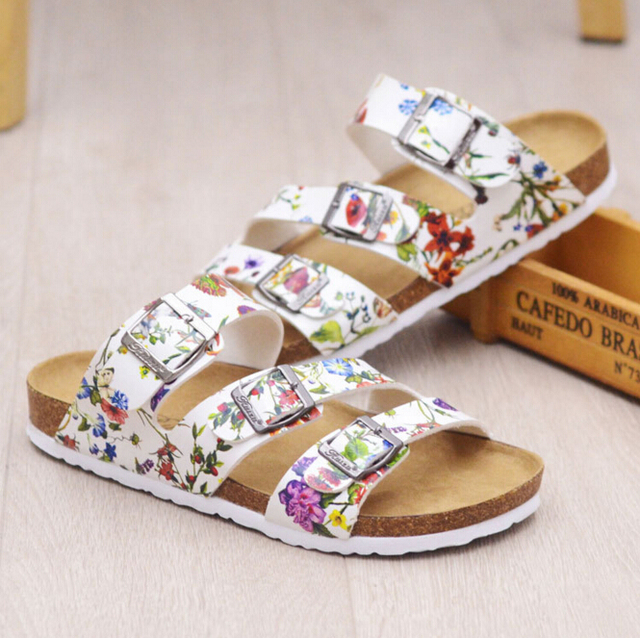 f8ed17dc588a92 brand designer women cork sandals three belt flip flops fashion buckle cork beach  sandals flower printing summer shoes woman