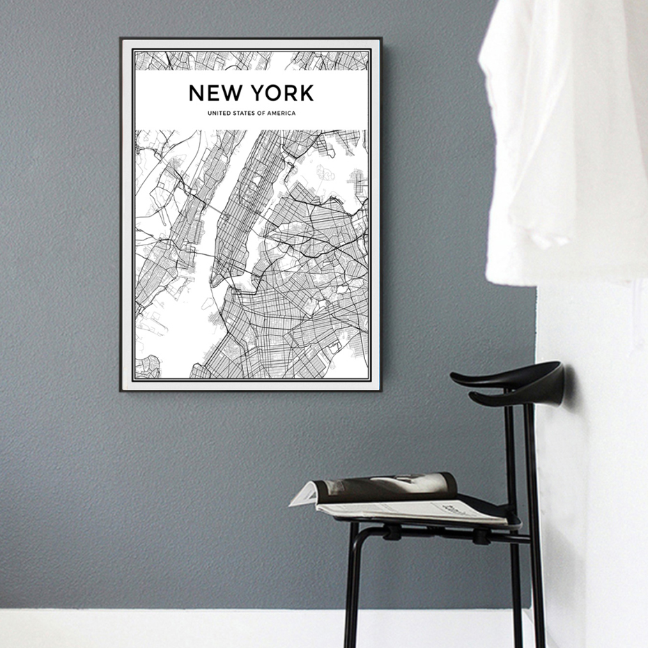 Minimalist new york city map canvas painting black and for Minimalist living new york times