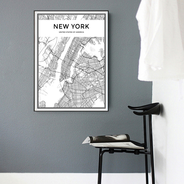 Minimalist New York City Map Canvas Painting Black And White Pop Poster  Print Nordic Wall Art