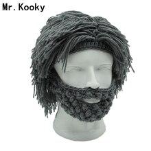 Mr. Kooky парик борода шапки Хобо безумный учёный пещерный человек ручной работы вязаные теплые зимние шапки для мужчин и женщин Подарки На Хэллоуин забавные вечерние шапочки