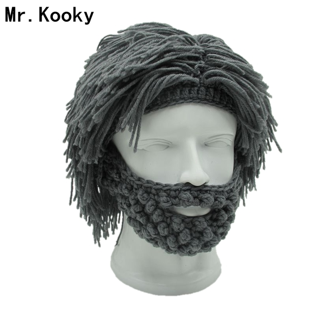 48fffb1991e Mr.Kooky Wig Beard Hats Hobo Mad Scientist Caveman Handmade Knit Warm  Winter Caps Men