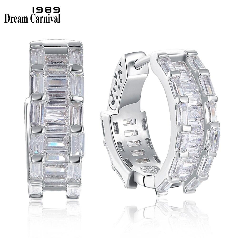 DreamCarnival1989 New 17mm Hoop Earings for Women Square Cut Sparkling Zircon 925 Sterling Silver Wedding Style Jewelry SE20027R