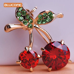 Blucome Green Leaves Cherry Brooch Corsage Rose Gold Color Red Fruit Women Kids Brooches Hijab Scarf Pins Up Buckles feminino(China)