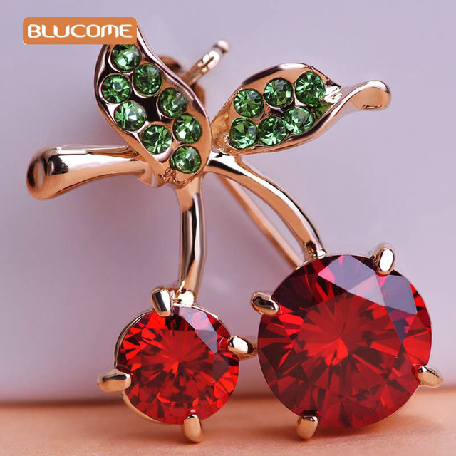 Blucome Green Leaves Cherry Brooch Corsage Rose Gold Color Red Fruit Women Kids