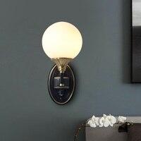 Bola de vidro Nordic Quarto Lâmpada de Parede Moderna Espelho Do Banheiro Luz FixturesFashion Cobre Sala Arandela Iluminação Interior Luminárias de parede     -