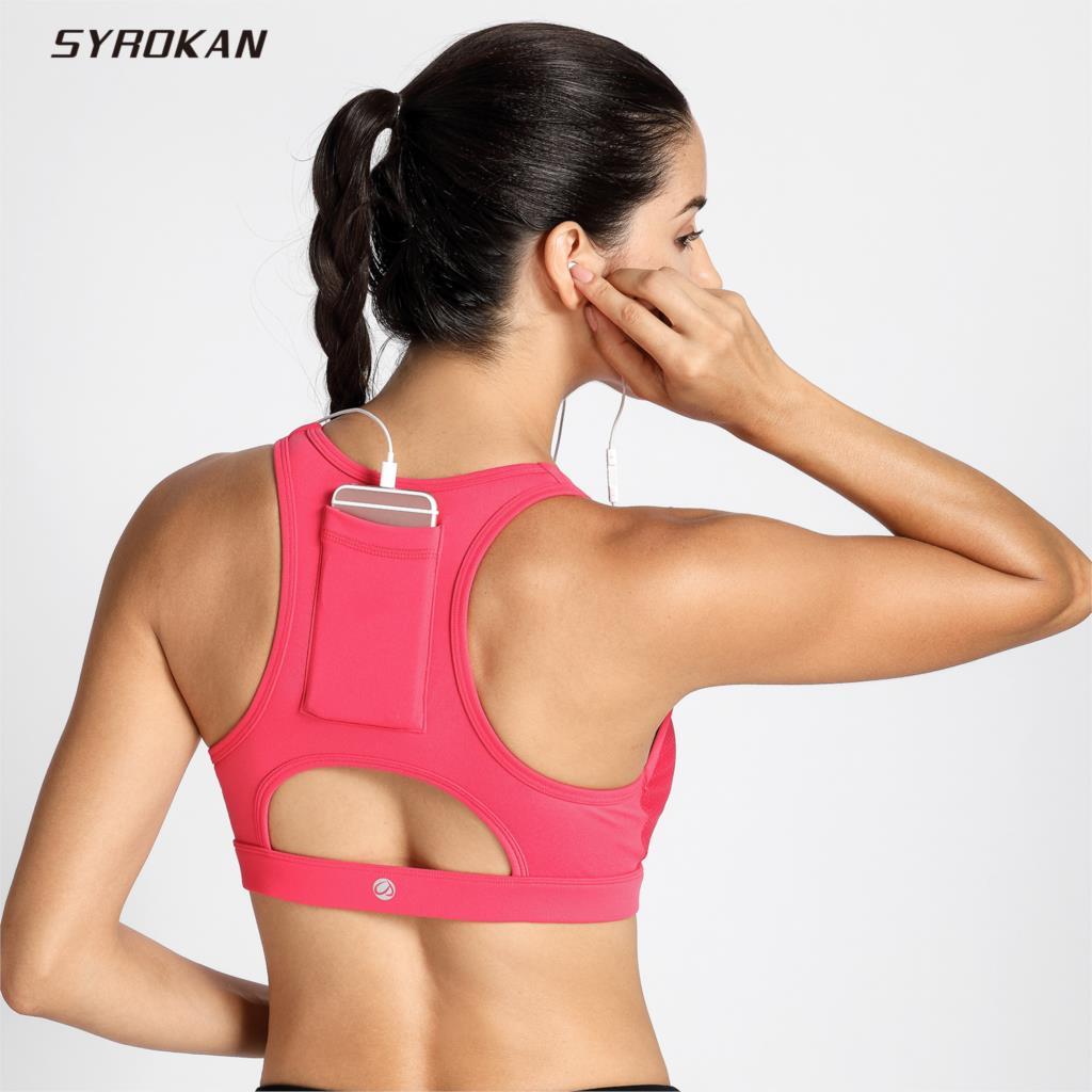 d20980b192a56 SYROKAN Women s High Impact Sport Bra With Back Pocket Front Zipper Workout  Bra