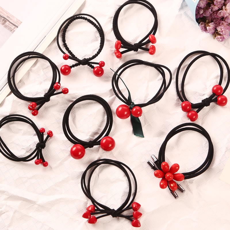 9PCS/Lot Fashion Red Beads Multi-layer Elastic Hair Rubber Band Girl Women Ponytail Holder Tie Gum Hair Accessories   Headwear