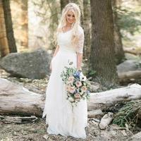 LORIE Boho Wedding Dress Half Sleeves V Neck Lace A Line White Ivory Beach Bride Dress Princess Wedding Gown Free Shipping 2019