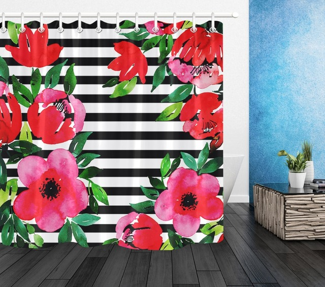 Red Flower Green Leaf Shower Curtain Black And White Stripes Bathroom Waterproof Polyester Screens Fabric For Bathtub Home Decor