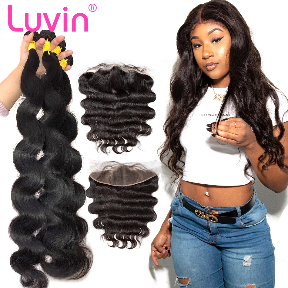 Luvin 28 30 40 Inch Brazilian Hair Weave 3 4 Bundles With 13×4 Lace Frontal Closure Remy Body Wave 100% Human Hair Double Drawn