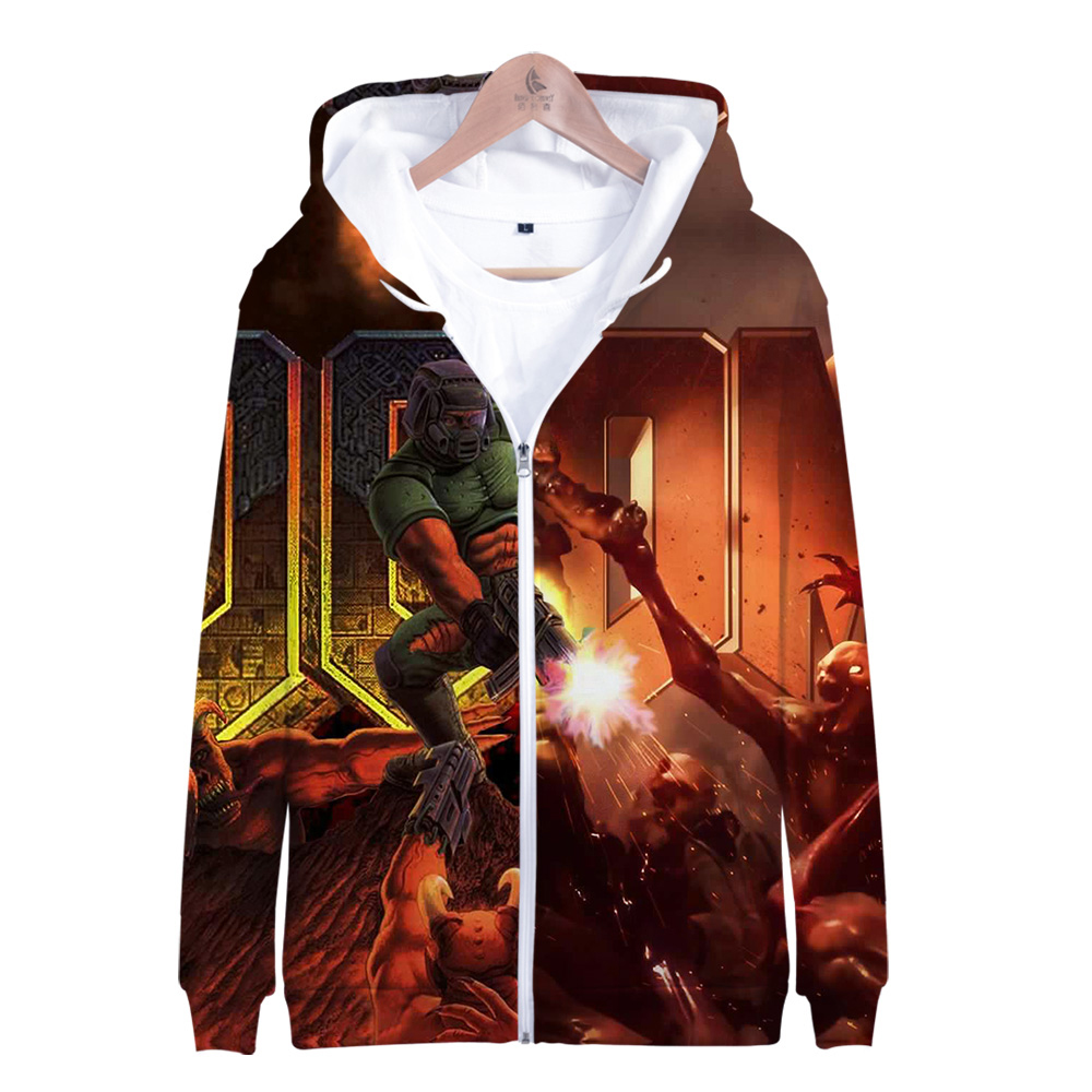 2019 3D Doom Man Zip Up Hoodie Sweatshirts Harajuku Long Sleeve Zipper Men Woman Doom Eternal Game Hoodie Sweatshirt Jacket