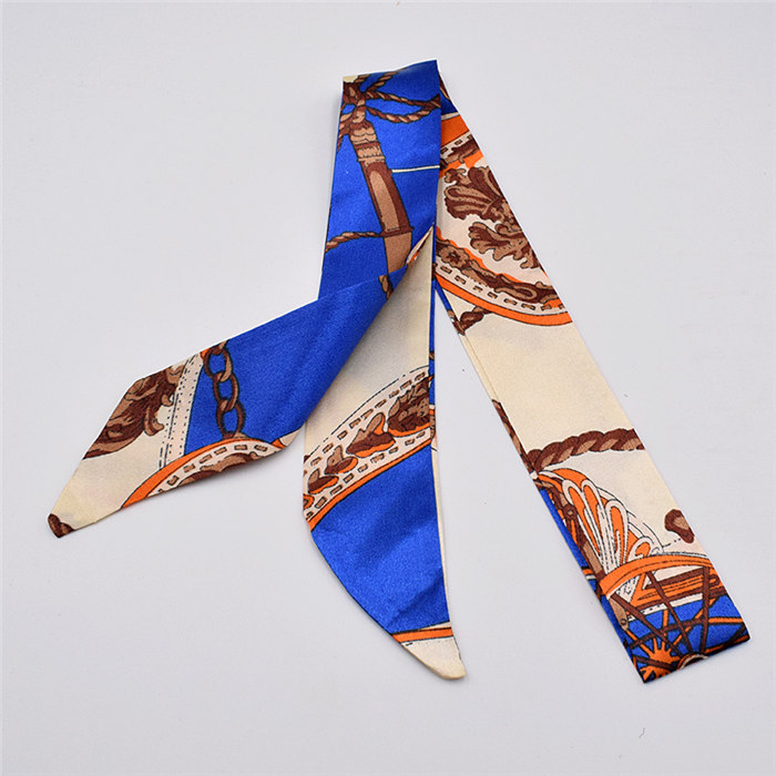 HTB1L.wWdlKw3KVjSZTEq6AuRpXae - Small Silk Scarf For Women New Print Handle Bag Ribbons Brand Fashion Head Scarf Small Long Skinny Scarves Wholesale