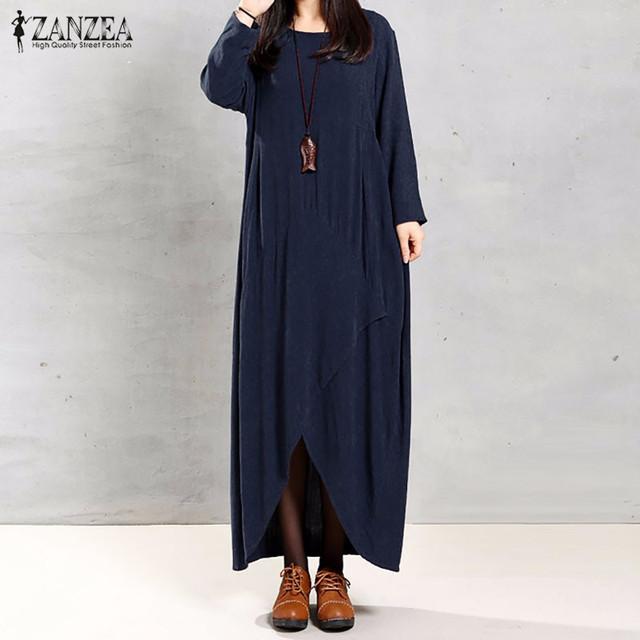 Zanzea 2017 otoño de las mujeres retras de gran tamaño larga de algodón dress ladies o cuello de manga larga irregular hem maxi dress vestidos plus tamaño