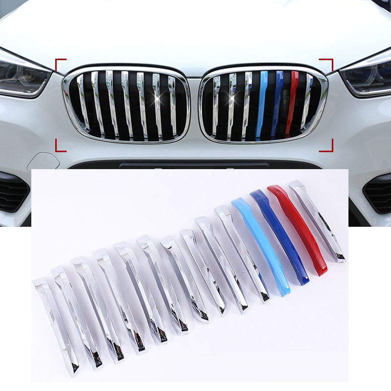 High Quality 14PCS ABS Chrome Car Front Grill Cover Trim For BMW X1 F48 2016 2017 Car Accessories New Arrivals