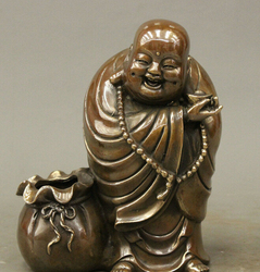 Gratis Verzending Chinese Boeddhisme Koper Wealth Gelukkig Lachen Maitreya Boeddha Standbeeld Pot Kom Jar