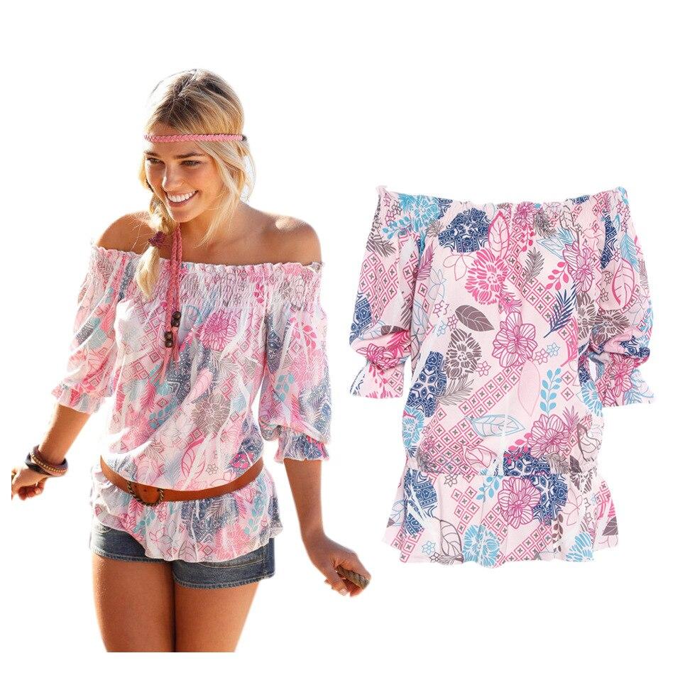 sexy boho hombro top flojo ocasional de la impresión floral de la blusa camisas