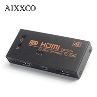 AIXXCO 2k 4k 3D Mini 3 Port MINI Dp Hdmi To HDMI Switch Switcher 3x1 3