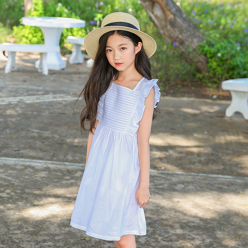 Cotton Baby Dress Princess Girl Teenage Clothes Girl Dress Summer Size 8 10 12 14 White Blue Dress Clothes 2018 New