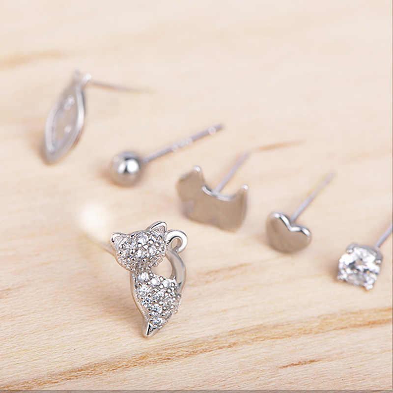 Blucome mode 925 argent Zircon bijoux 6 pièces chaton poisson amour chien forme petit goujon boucle d'oreille femmes filles accessoires quotidiens