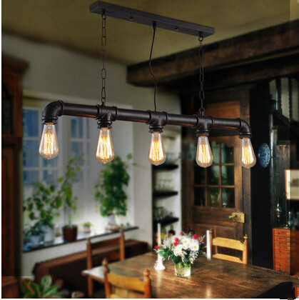 ФОТО Creative personality water pipe pendant light in Retro industrial style decorate for coffee shop Bar counter restaurant