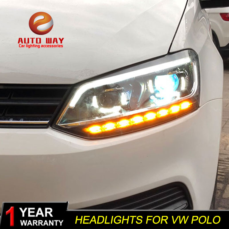 Car Styling Head Lamp case for VW Volkswagen polo Headlights polo 2011-2017 LED Headlight DRL Lens Double Beam Bi-Xenon HID hireno headlamp for volkswagen tiguan 2017 headlight headlight assembly led drl angel lens double beam hid xenon 2pcs