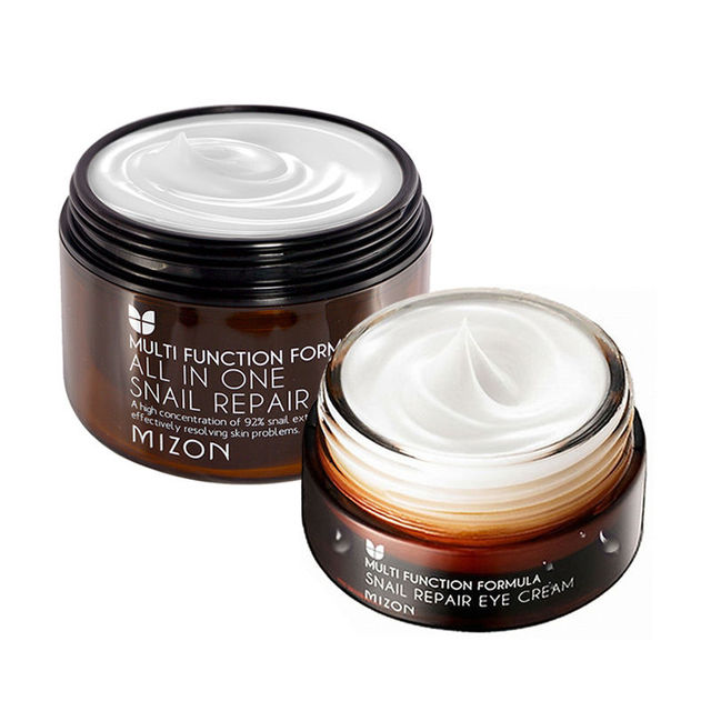 MIZON All In One Snail Cream 120ml [Super Size] + Snail Eye Cream 25ml  Face Skin Care Set Korean Cosmetics