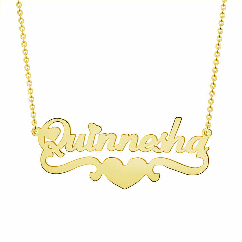 V Attract Heart Pendant Personalized Name Necklace For Women Men Custom Jewelry Gold Filled Choker Friendship Bridesmaid Gift