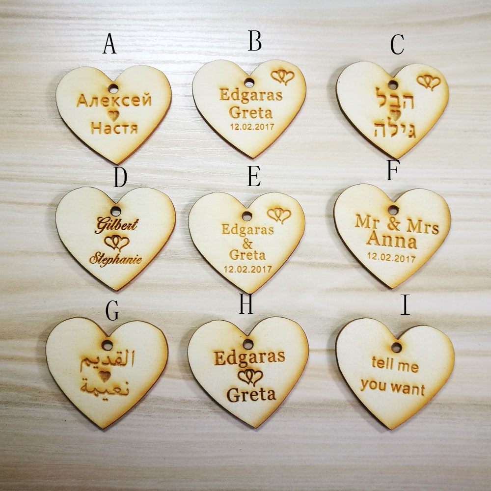 30pcs)Customized Candy Tags of herats Personalized Engraved Wood ...