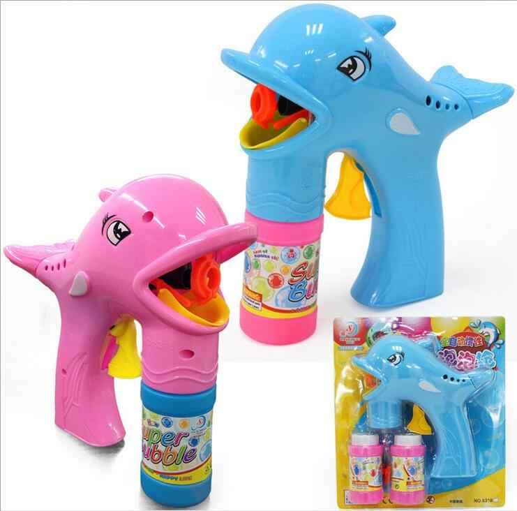 Automático golfinhos bolha arma dois cabelo misturado com 2 garrafas de água bolha elétrica rua crianças brinquedos