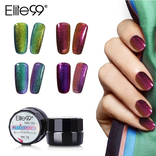 Elite99 Soak Off Bling Kameleon Zmienia Kolor Żel Polski UV LED Lakier 5 ml UV Baza Top Coat Nail Gel polski Na Sprzedaż