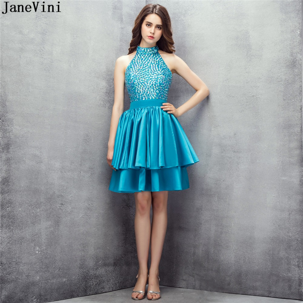 JaneVini Elegant Short   Bridesmaid     Dresses   for Wedding Party High Neck Beading Backless A Line Tiered Satin Mini Party Prom Gowns