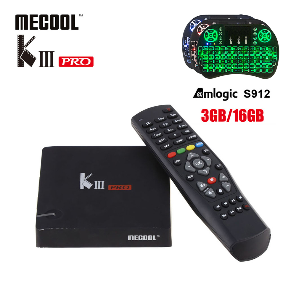MECOOL KIII PRO DVB-S2 DVB-T2 DVB-C Android 7.1 TV Box 3GB 16GB Amlogic S912 Octa Core 4K support CCCAM Biss key PowerVU mecool kiii pro 3g 16g dvb s2 dvb t2 dvb c android 7 1 amlogic s912 set top box support 2 4g 5g wifi bt4 0 cccam newcamd iptv
