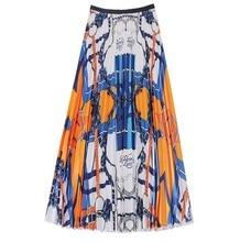 New multi-plus-size summer swirl print vintage pleated a-line skirt